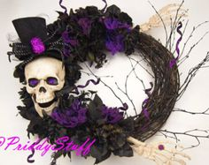 Halloween Wreath Skeleton Wreath Scary Wreath by SewSimple4you