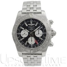 Breitling Chronomat 44 GMT Auto Steel Mens Strap Watch Chrono for sale online Stainless Steel Watch, Stainless Steel Bracelet, Tag Heuer Aquaracer Ladies, Breitling Chronomat Evolution, Omega Watch, Chronograph, Bracelet Watch, Watches For Men, Ebay