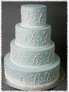 Blue an white buttercream wedding cake Purple Wedding Cakes, Wedding Dress Cake, Elegant Wedding Cakes, Aqua Wedding, 1920s Wedding, Wedding Ideas, Wedding Stuff, Wedding Inspiration, Wedding Dresses