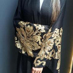 Statement piece Black linen robe with Gold sequins is stunning. Side slits, and matching sheyla. Silk Satin Dress, Satin Dresses, Wedding Dresses With Flowers, Disney Wedding Dresses, Hijab Bride, Pakistani Wedding Dresses, Pakistani Outfits, Indian Dresses, Daily Fashion