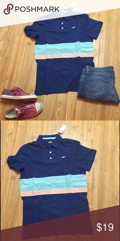 Cute little Hollister golf shirt What a cute golf shirt/polo. New with rages. Size L Hollister Tops Tees - Short Sleeve