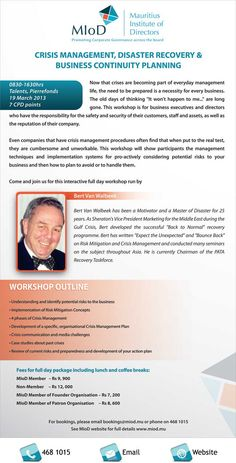 Mauritius Institute of Directors - Business Continuity Planning with Bert Walbeek. Info: 468 1015