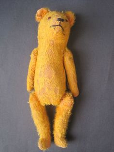 "Early Vintage 11"" Teddy Bear Mohair Straw Filled Jointed Growler Squeaker"