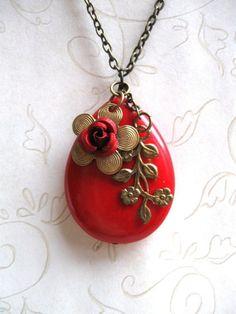 Big Teardrop  Red Flower Necklace  flower charms by botanicalbird, $28.00
