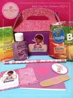 Doc McStuffins Personalized Favor Box  Includes: Tissue pocket size, Mini Hand Sanitizer, Bag of Apples, Pencil, Mini Doc McStuffins Notebook, Doc ID, Sticker, Bandaid and a Lollipop (not shown)