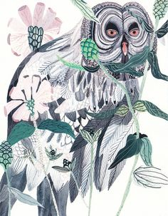 Such a wise-looking owl - Grey Owl and Zinnias  Archival Print by unitedthread on Etsy, $20.00