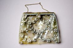 1950s Bag Clear Vinyl French Tambour Floral by LaMeowVintage, $40.00