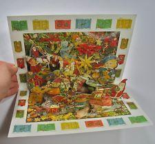 New Christmas Advent Calendar Pop Up greeting card french envelope I Spy retro