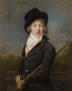 """Portrait of Auguste Vestris by Adèle Romanée, c.1793 Marie-Jean-Augustin Vestris 1760-1842 was a French dancer and dubbed """"le dieu de la danse""""."""