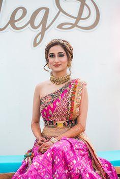 Bride, pink, one-shoulder lehenga, jewelry, Bridal Jewellery, Qbik, Bridal Outfit, Lehenga, Choker, Bridal Photography, Jewellery Ideas Mehendi Outfits, Indian Bridal Outfits, Indian Bridal Fashion, Indian Bridal Wear, Indian Wear, Indian Gowns Dresses, Indian Fashion Dresses, Indian Designer Outfits, Pakistani Clothing