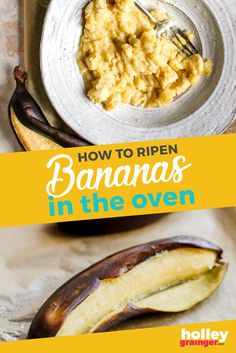 Ripen bananas in the oven in just 25 minutes so you no longer have to wait to make your favorite banana bread recipe. This express ripening tip guarantees perfectly ripe bananas in no time! It's one of my favorite cooking hacks. Banana Bread Recipes, Cake Recipes, Top Recipes, Healthy Diet Recipes, Delicious Recipes, Healthy Food, Roasted Banana, Green Banana, Food Facts