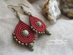 Maroon Macrame boho earrings, DROP design, tribal, ethnic, alternative fashion, spiritual jewelry, gift for woman, beaded earrings, hippie