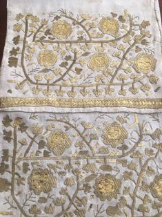 """19TH ANTIQUE OTTOMAN-TURKISH GOLD METALLIC HAND EMBROIDERY ON FINE LINEN SASH - $425.00. You are viewing an attractive example of embroidery. I'm offering a lovely bridal """"Sash'' Origin: Turkey Example from the: Ottoman period / 19th centuryColourway of the fabric : ecru It is a hand loomed fine linen fabric.The hand embroidery is on both ends, gold metallic thread on linen; The embroidery technique counted stitches neat and worked reversible,not distinguishing between f..."""