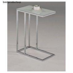 #Ebay #Sofa #Snack #Table #Glass #Modern #Side #End #Cofffee #Laptop #Magazine #Chrome #Top #Drink