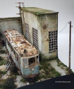 Abandoned tram diorama | Etsy