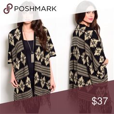 🎁Aztec Fringe Poncho Open Cardigan Well-made with warm material that will keep you going during the cold months of the years.  A perfect pattern to keep you in touch with the earth.  Live it.  3 small/medium 3 medium/large  Please let me know if you wish to purchase, I will create a separate listing for you.  Material: 75% acrylic, 25% wool.   Made in China. S Rosebud Fashions Sweaters Cardigans