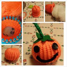 loom knitted halloween pumpkin / pompoen breiringen / knitfy knitting