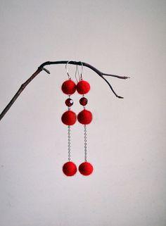 Long Red Earrings Red Earrings Office Fashion Felt by LinaBi, $16.00