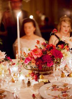 panier de fleurs - centre de table.  chandelle