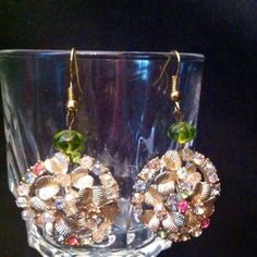 Vintage Earrings Estate clip ons are given a new life by adding bead and making them pierced.  Great one of a kind gift.   Vintage Jewelry Earrings