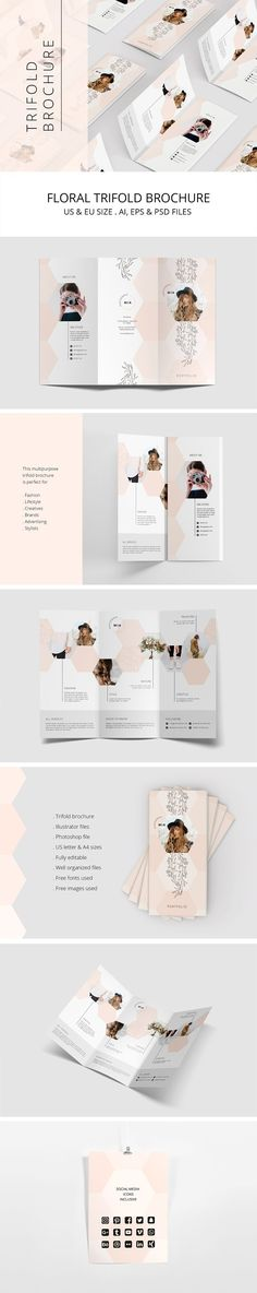 Portfolio Trifold Flyer Rhombus by AgataCreate on @creativemarket