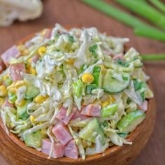 Cabbage and Ham Salad. Made with cabbage cucumbers ham corn and scallions this tasty and crunchy Cabbage and Ham Salad is packed with vitamins. Healthy Salad Recipes, Vegetarian Recipes, Cooking Recipes, Pork Recipes, Lettuce Recipes, Cooking Tips, Keto Recipes, Cabbage Recipes, Ham And Cabbage