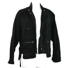"""Veste Sonia Rykiel """"Sonia"""". Coton et satin. Zip sur toute la hauteur, rubans de serrage et satin noir. Coupe oversize. TBE, noir profond. T. 42"""