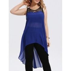 RoseWholesale - Rosewholesale Plus Size Lace Trim Chiffon High Low Tank Top - AdoreWe.com