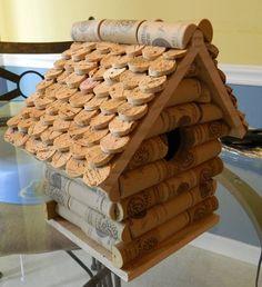 Wine cork birdhouse.