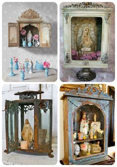 Catholic Home Decor Inspiration -- It looks like a glass lantern, curio cabinet, shadow box, and cupboard were used to make these home altars :)  Beautiful DIY for Catholic families!
