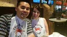 The Boiling Crab - Sacramento, Ca - Networking with Mars from M.A. - Crab bibs!! Digging right in - crab meat and butter garlic sauce!!