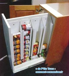 Need this can storage - This is the most ingenious kitchen storage idea I have ever seen! No more avalanches in the cabinets! 30 Organization Tips, Tricks and Ideas That Will Make You Go Ah-ha!