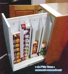 Rangement astucieux pour boites de conserve