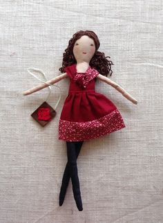 Modern cloth doll Doll with clothes doll with toy by Dollisimo