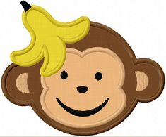 Cute Monkey  Applique Machine Embroidery by JoyousEmbroidery, $2.99
