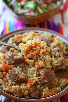 Uzbek pilaf- one of the achievements of Uzbek cuisine, beloved and honorable. For the centuries-old development of Uzbek cuisine, dozens of different recipes and cooking methods have arisenUzbek pilaf Cookbook Recipes, Cooking Recipes, Healthy Recipes, Russian Recipes, Italian Recipes, Russian Foods, Rice Dishes, Food Dishes, European Cuisine