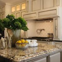 M. E. Beck Design - kitchens - gray, kitchen island, granite, top, antique, ivory, kitchen cabinets, pot filler, arabesque Tile, arabesque t...