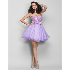 A-line Sweetheart Short/Mini Organza And Sequined Cocktail/Prom Dress (759833) – USD $ 79.29