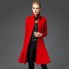 Mujer+Sofisticado+Noche+Un+Color+Abrigo,Escote+Chino+Manga+Larga+Invierno+Lana+Rojo+/+Negro+Medio+–+EUR+€+26.45