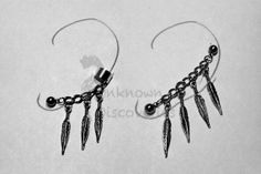 Feather Chain Earring with Cuff and by UnknownDiscoveries on Etsy, $10.00