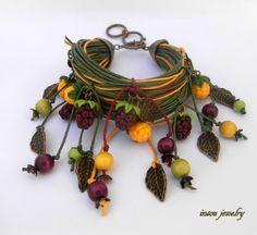 Dark red and yellow wrap bracelet  Boho bracelet  by insoujewelry