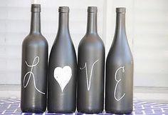 Chalkboard Wine Bottles - love it! dansnwflk