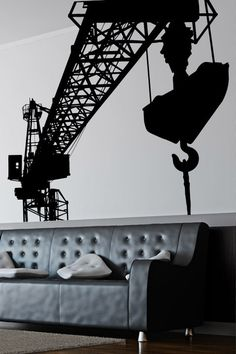 Construction Work Wall Sticker. The lifelike depiction of a full fledged construction site on your wall decals encompassing builders, architects, loading docks and crains present the perfect landscapes of building process for adorning the walls of your living rooms and offices. http://walliv.com/consrtuction-site-wall-sticker-art-decal