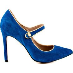 Rest your fashion case in this lavish pump by Pour La Victoire. The Case brings you a dark teal suede upper with gold piping and button detail. This pointed toe style delivers a 4 inch stiletto heel. Blue High Heels, Blue Suede Shoes, Blue Pumps, High Heels Stilettos, Suede Pumps, Pointed Toe Pumps, Stiletto Heels, Shoes Heels, T Strap Heels