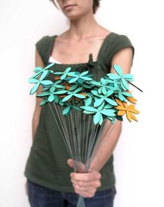 rustic wood flowers set of EIGHTEEN by uncommon on Etsy, $62.00