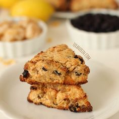 These healthy scones combine the classic flavors of blueberry and lemon with a little extra spice from crystallized ginger.