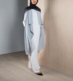 Casual dressing made easier -  Pastel Grey Sleeveless Cover  Maxi White Cotton Slip Dress  Black Maxi Georgette Hijab  www.inayah.co