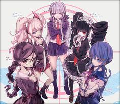 (left to right) Fukawa/Genocider Syo, Junko Enoshima, Kyouko Kirigiri, Celestia Ludenburg, and Maizono