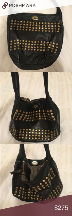 J Crew Leather Studded Purse Soft leather J. Crew shoulder purse with gold-colored studs. Lots of zippered pockets inside! J. Crew Bags Shoulder Bags