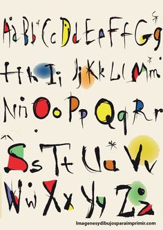 abecedario de miro | Abecedario moderno para imprimir | Imagenes para imprimir.Dibujos para ...